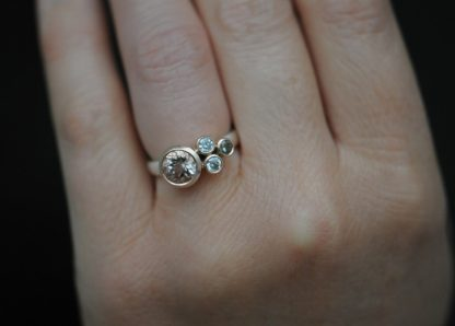 morganite cluster ring in 9K rose gold and silver
