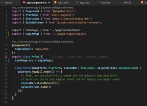 Código fonte de exemplo, onde há a alteração: src/app/app.component.ts