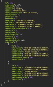 A imagem mostra um Objeto JSON retornando os dados de log dentro dos dados da Ordem
