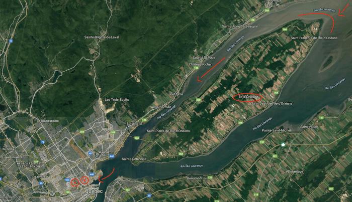 Mapa que mostra a Ilha de Orléans e a cidade de Québec, com destaque para a foz do rio Saint Charles e o local de invernada de Jacques Cartier.