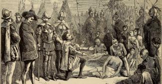 A imagem mostra Jacques Cartier ajoelhado em frente a tribo indígena de Hocheaga, hoje Montréal