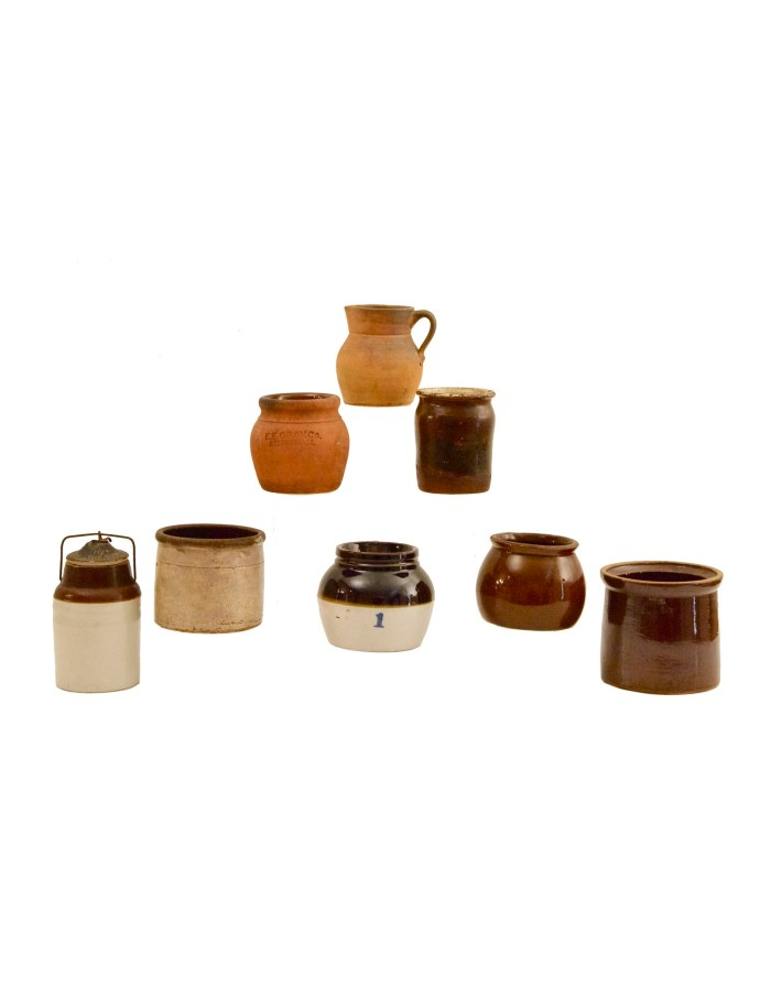 Lot 182: Eight 19th C. Pottery Containers