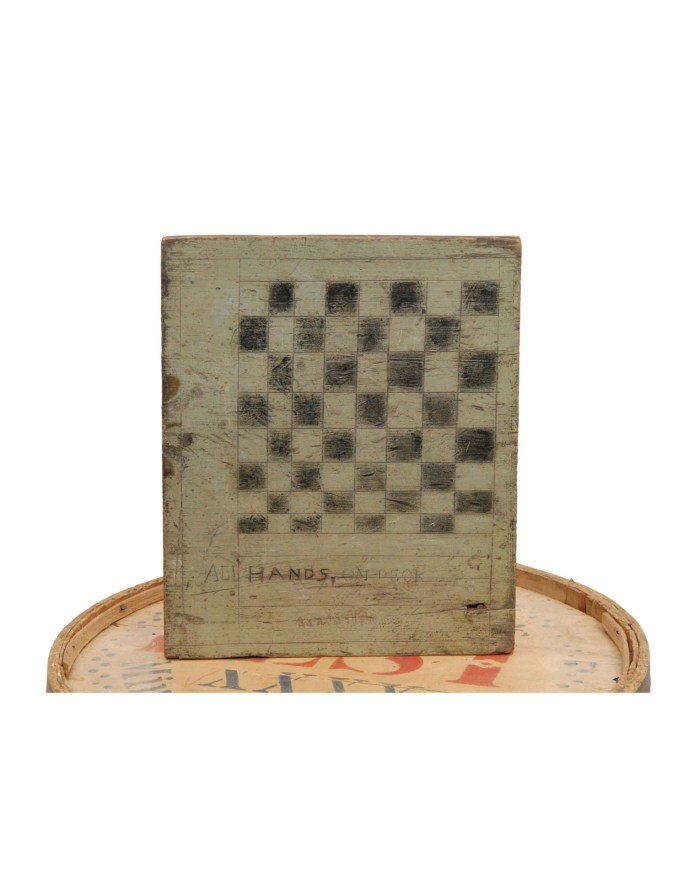 Lot 198: 19th C. Flour Barrel and Checkerboard