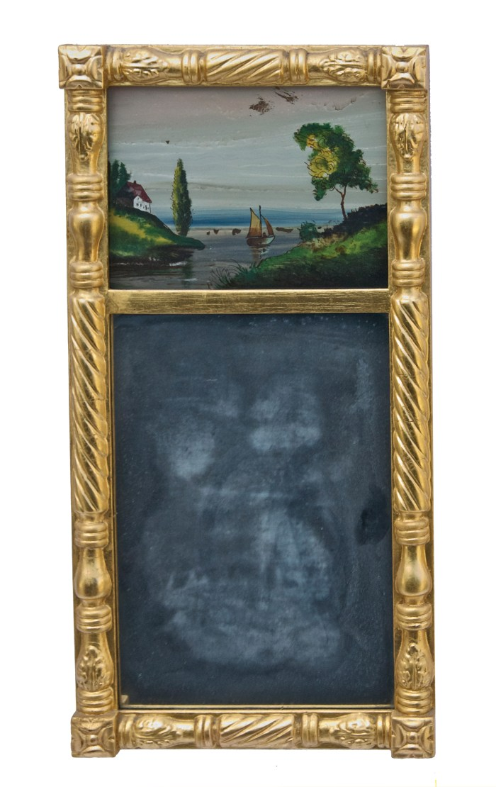 Lot 214: Small 19th C. Sheraton Looking Glass