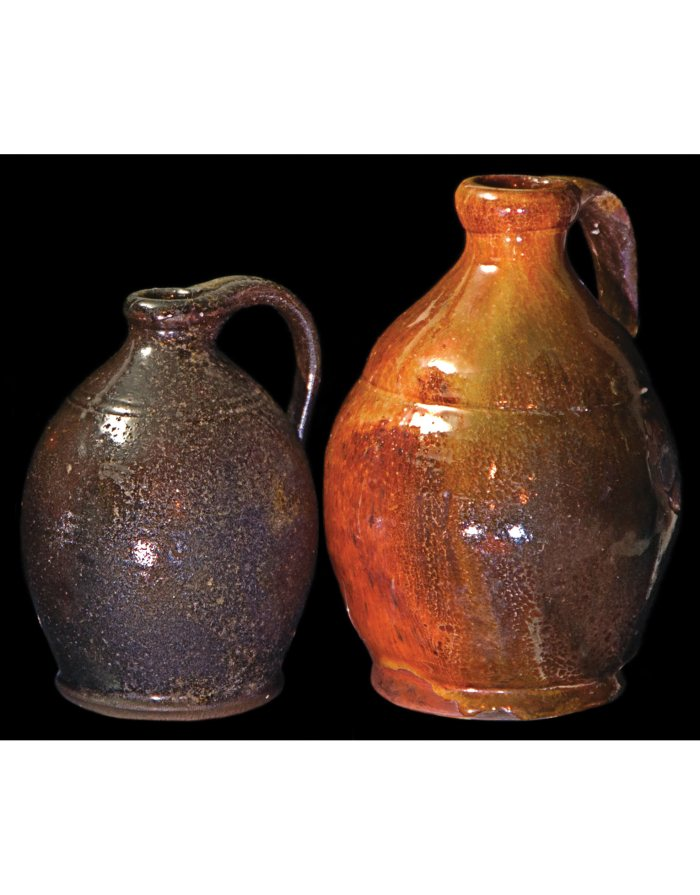 Lot 23D: Two Ovoid Shaped New England Redware Jugs