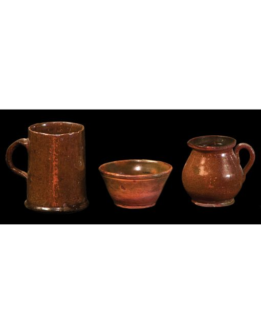 Lot 23G: Three Small New England Redware Pieces