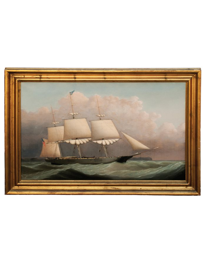 Lot 36: 19th C. Portrait of Whale Ship