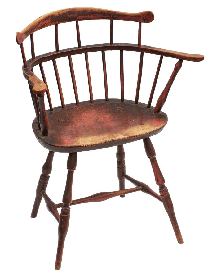 Lot 44: Rare 18th C. Low Back Windsor Armchair