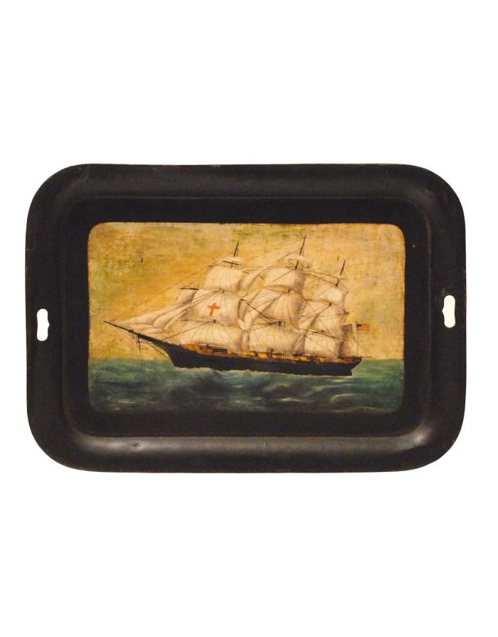 Lot 51A: Tole Tray Ship Portrait