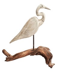 Lot 72: Early 20th C. Great Egret Wood Carving