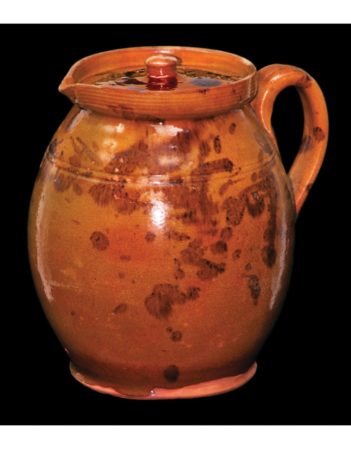 Lot 9C: Very Fine New England Redware Covered Pitcher
