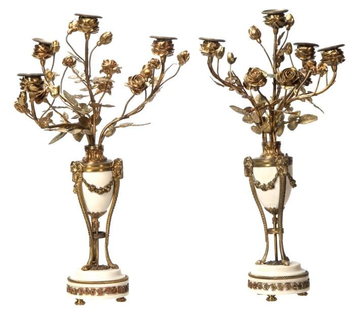 Lot 107: Pair of Alabaster and Bronze Candelabras