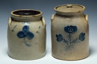 Lot 12: Two 19th c. Stoneware Crocks