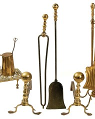 Lot 169: Pair of 19th c. Ball Top Andirons