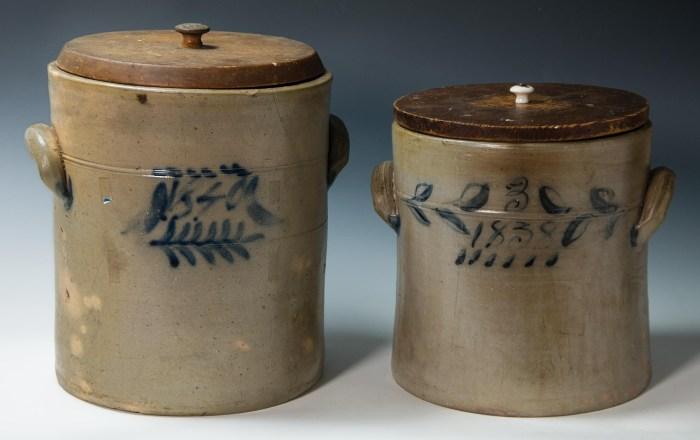 Lot 7: Two 19th c. Stoneware Crocks