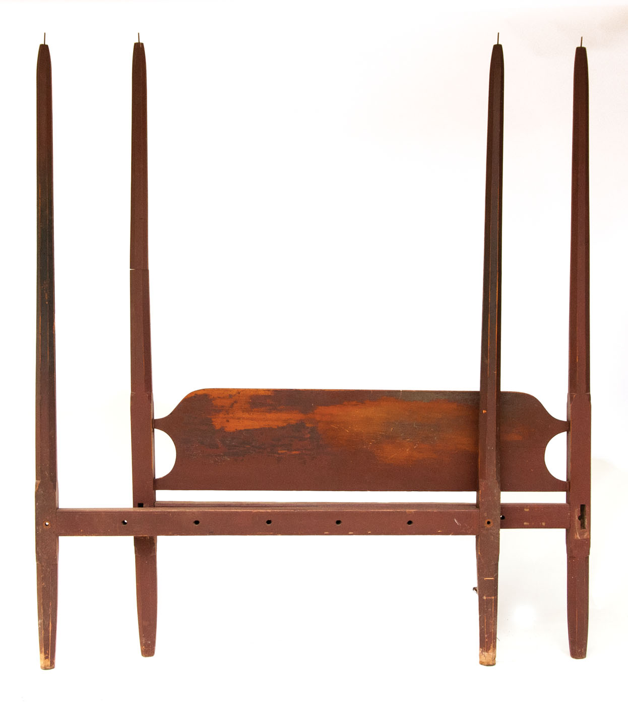 Antique Pencil Post Rice Bed Gray White And Copper Bedroom: Lot 165: Late 18th/Early 19th C. Pencil Post Bed