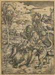 "Lot 110: Late 16th C. ""Samson Fighting with the Lion"" Albrecht Durer Woodcut"