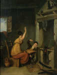 Lot 91: 19th C. Oil on Canvas Humorous Interior Scene