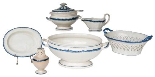 leedsware, blue, tureen