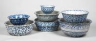 blue, spongeware, mixing, bowls