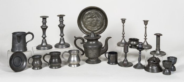 pewter, candlesticks, measures