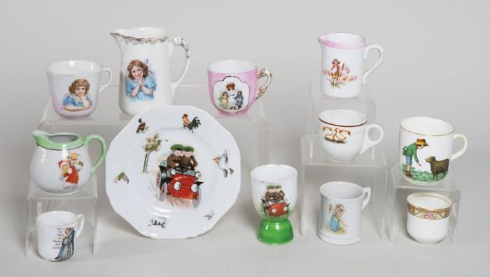 children's, ceramic, cups, saucers