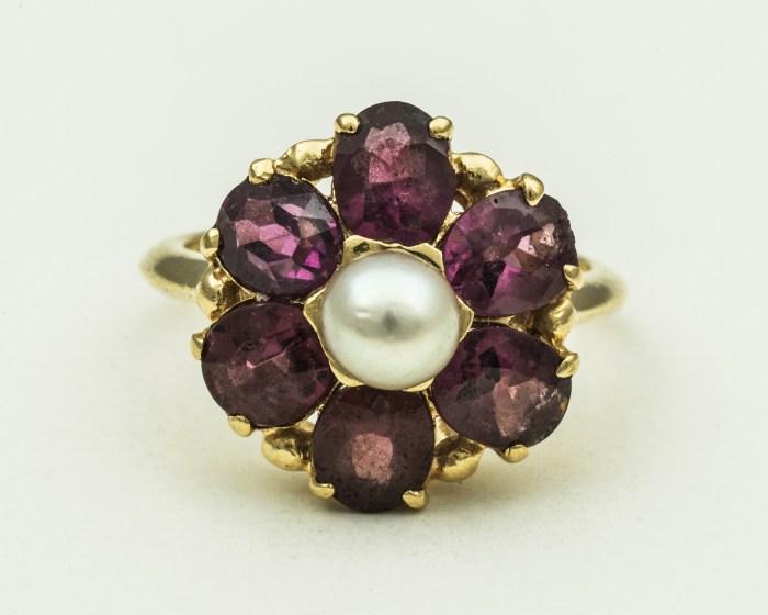 14k, gold, rings, pearl, garnets, sapphire