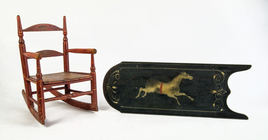 Child's Rocker, And Sled Top With Horse