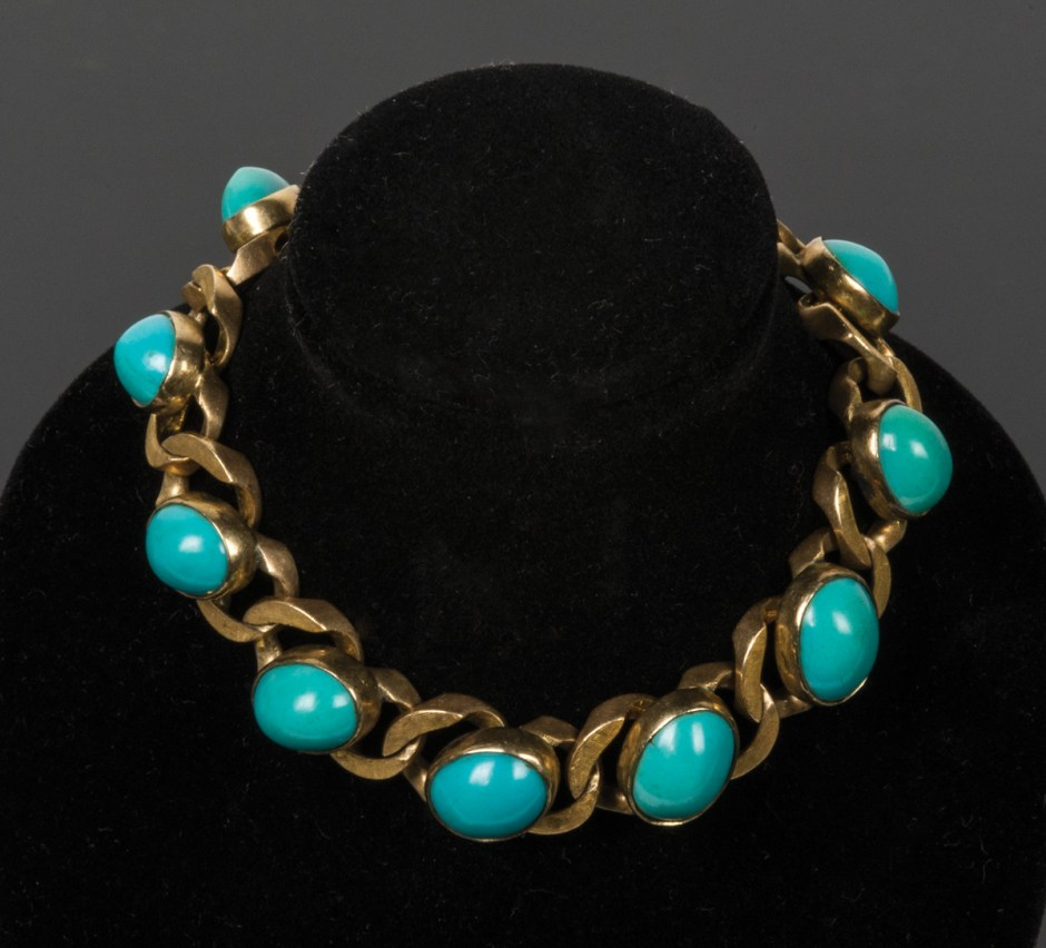 Gold Bracelet with Turquoise