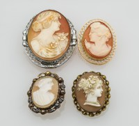 Four Victorian Cameo Pins