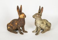 Two Cast Iron Rabbits