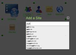 Screenshot of auto-completing urls in locidesktop.com