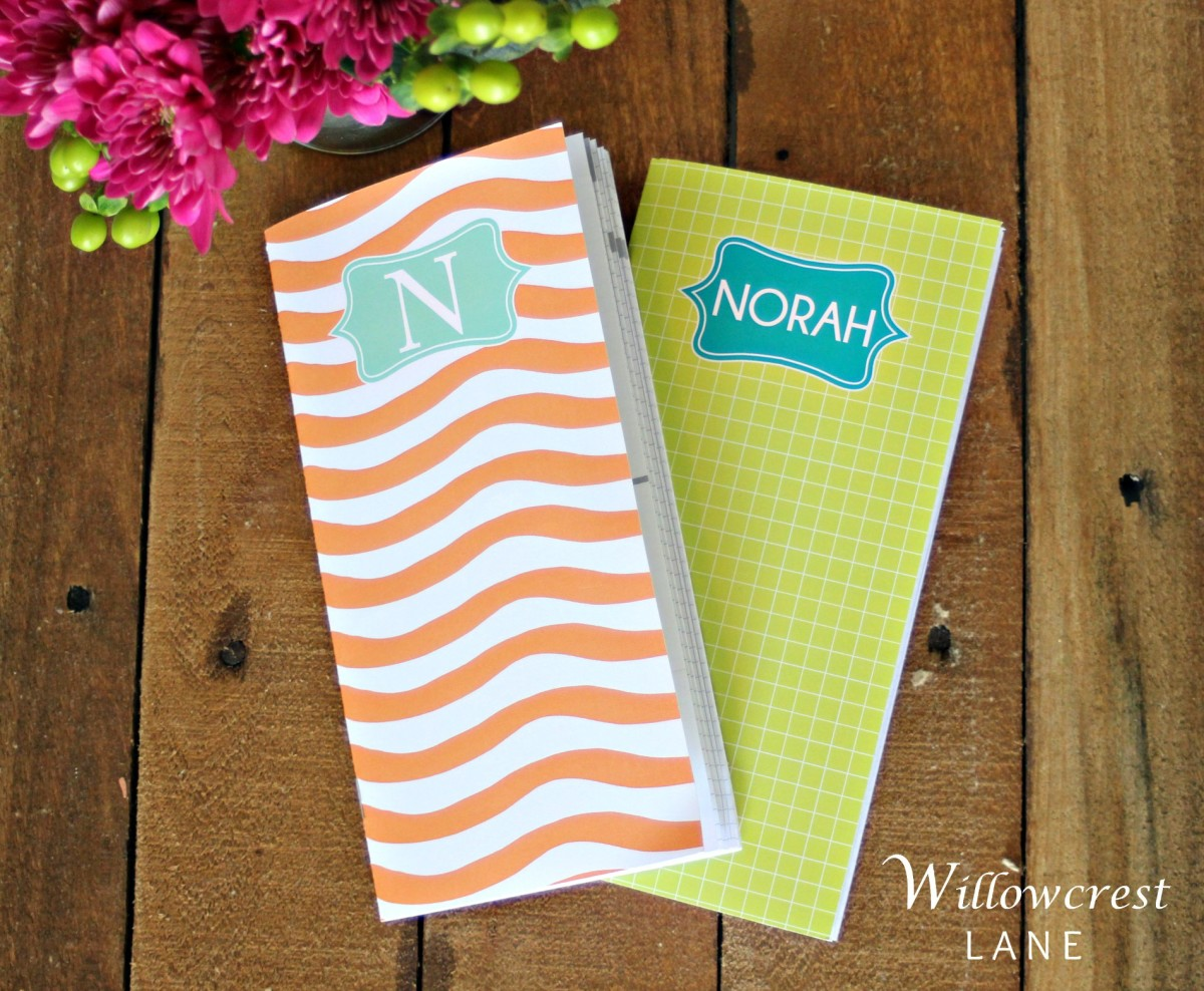 These pretty little inserts fit perfect in my traveler's notebook, I love the fun colors and the monogram choices, too!