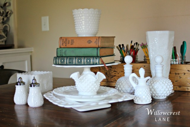 Some of my beloved milk glass collection from Nancy's Barn - some super rare finds!