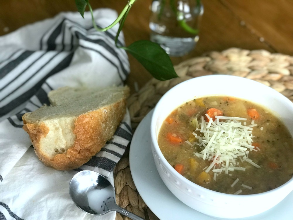 Easy slow cooker Lentil and Potato Soup is a delicious and healthy meal to warm your bones.
