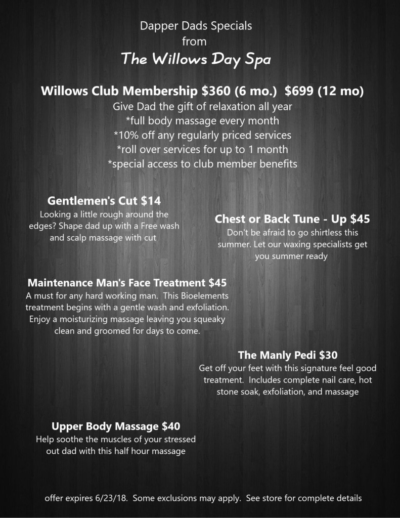 Willows Day Spa Great Deals for Dads