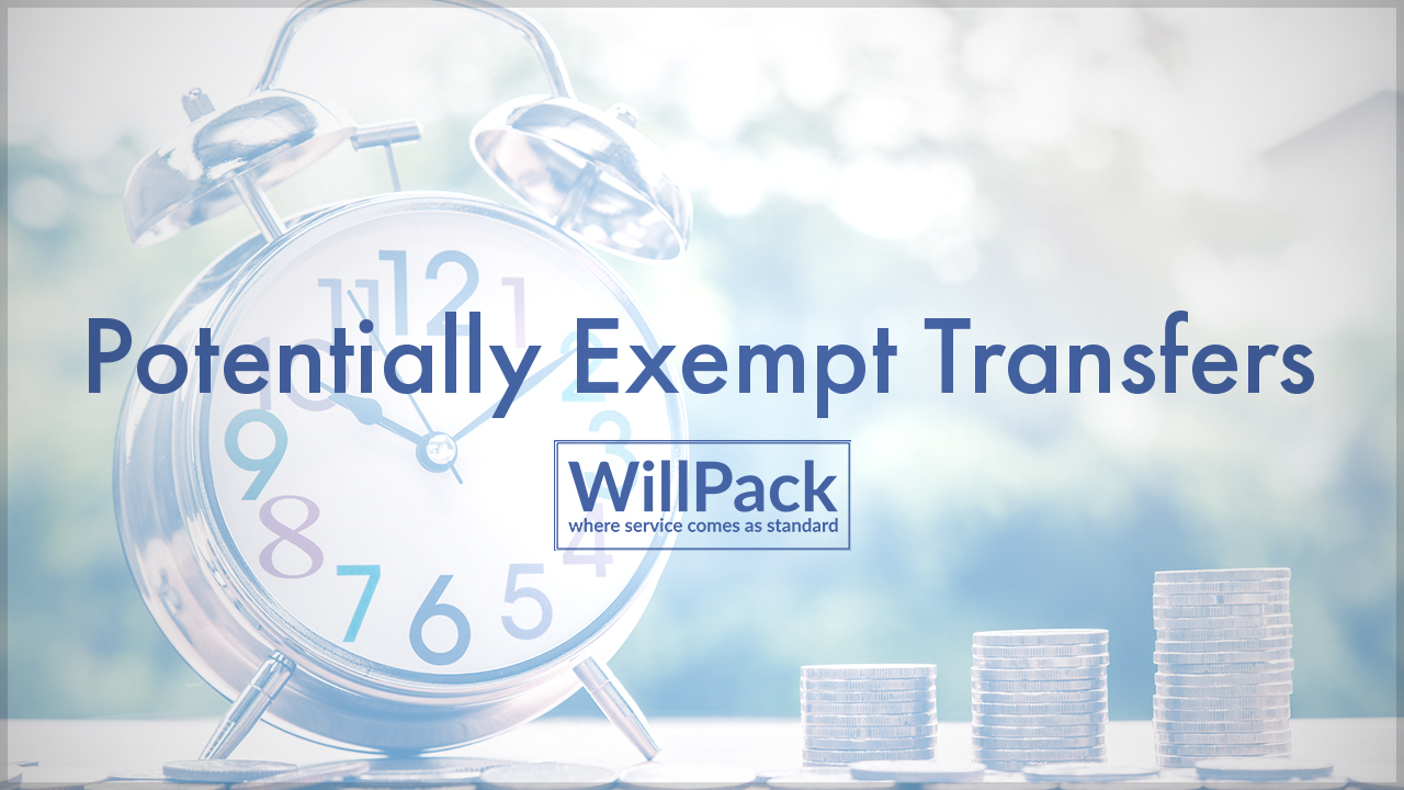 potentially exempt transfers, clock, time, money, stack, table, outdoors, family, savings, iht, willpack, logo, blue