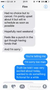 Finn's Cancellation Text