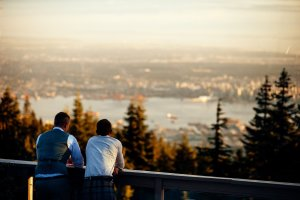 wedding with view of vancouver