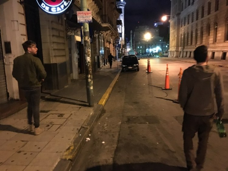 Nate (right), Ben, and I walk home drunkenly after a rooftop asado – Photo by a wasted Will Spencer