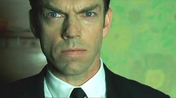 "Hugo Weaving as Agent Smith in ""The Matrix"""