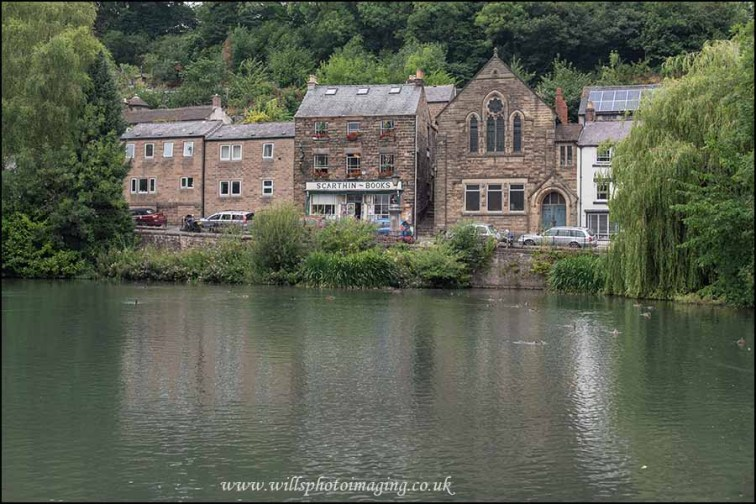 Scarthin Books, Cromford from across the mill pond