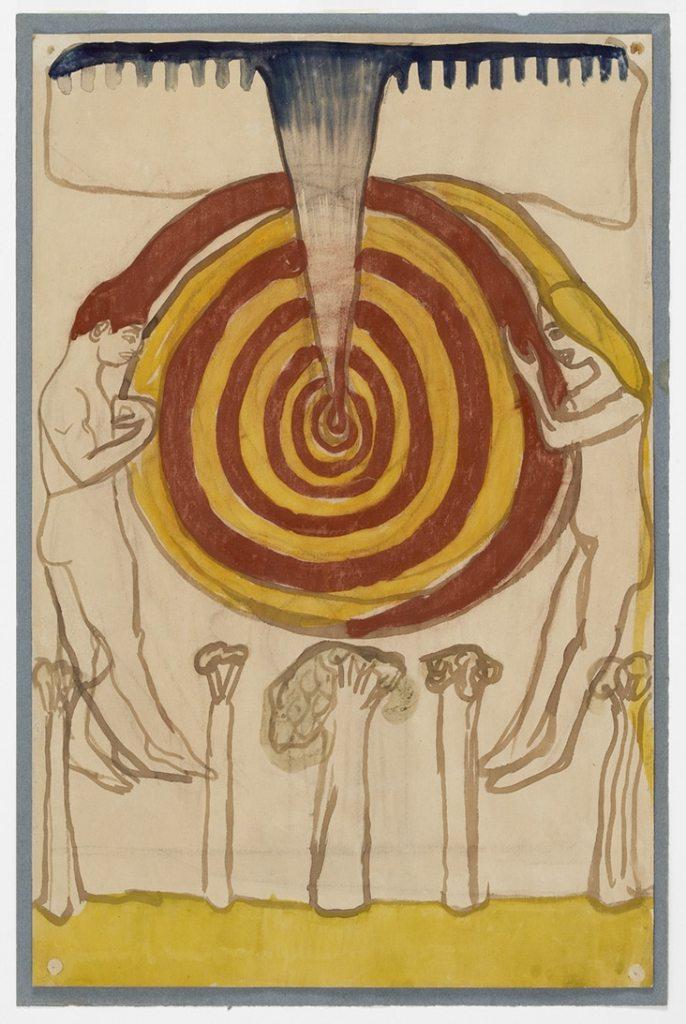 """Gengivelse af J.F. Willumsens skitse til """"Kærlighed"""". Skitsen er et udkast til keramik. En kvinde og en mand svæver i hver ide af billedet om en spiral i røde og gule farver. Vandfarve og gouache på hvidt papir."""