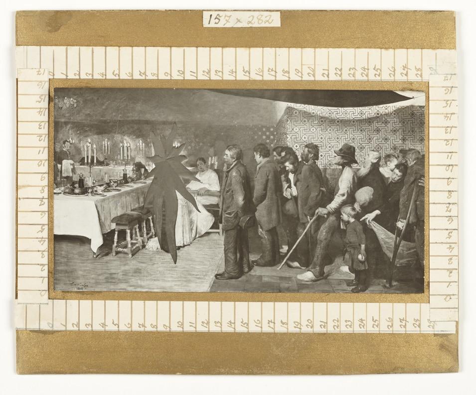 """Fotografi af J.F. Willumsens værk """"En kongesøns bryllup"""" hvor det originale brudepar er skåret ud"""