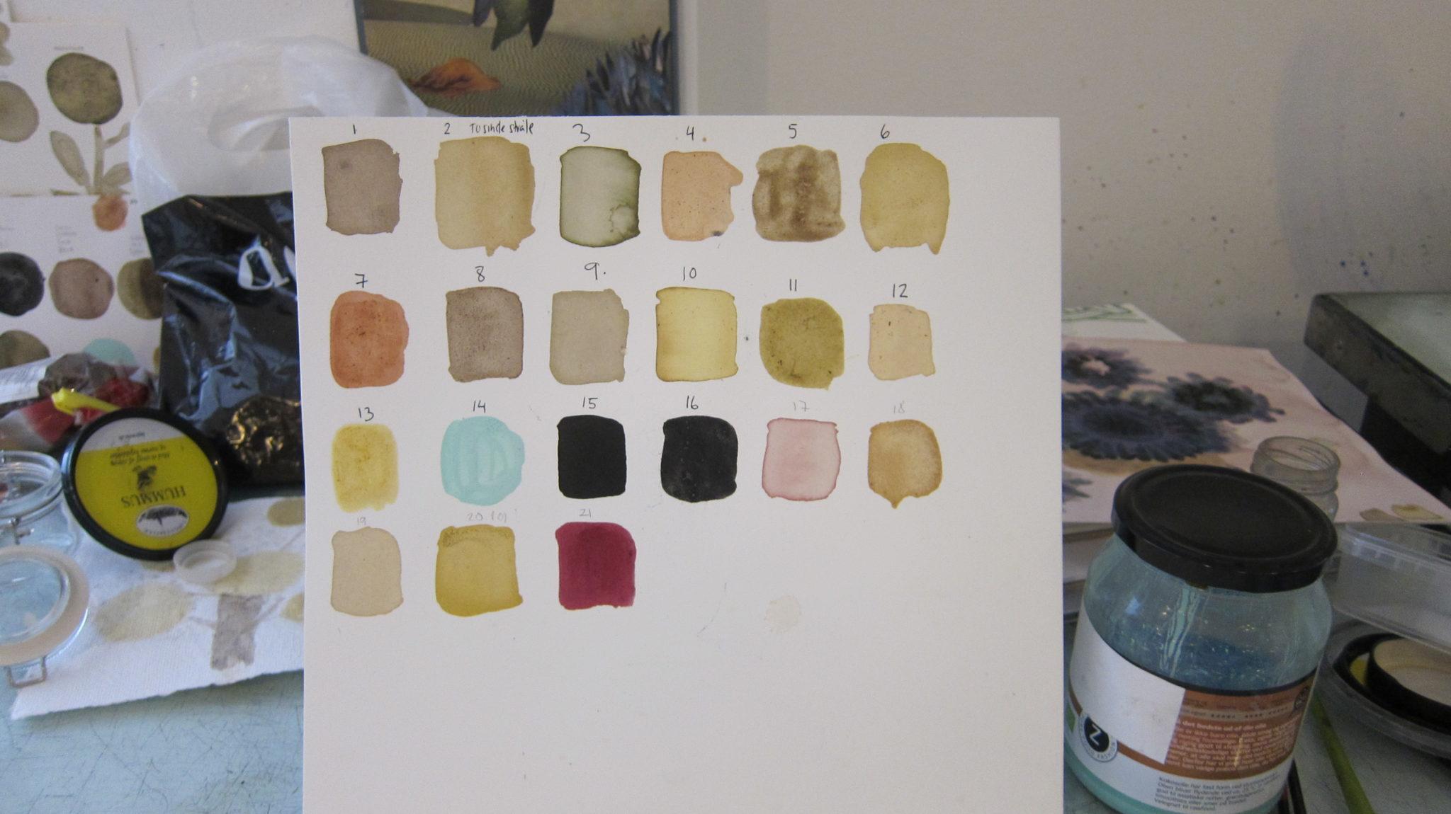 Farveprøver med hjemmelavet urtefarve til Farvelaboratorium