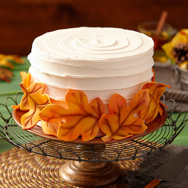Fondant Leaves Cake Fall Cakes Wilton
