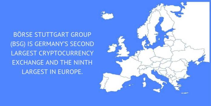 Börse Stuttgart Group (BSG) is Germany's second largest cryptocurrency exchange and the ninth largest in Europe.