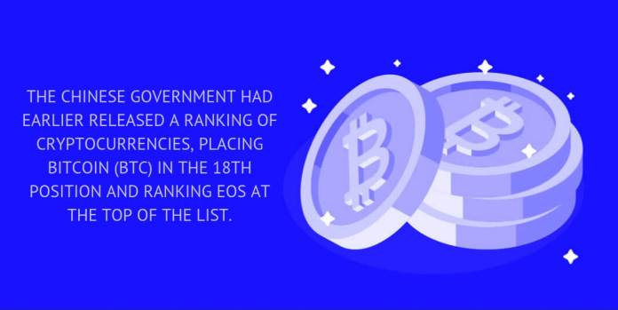 The Chinese government HAD EARLIER released a ranking of cryptocurrencies, placing Bitcoin (BTC) in the 18th position and ranking EOS at the top of the list.