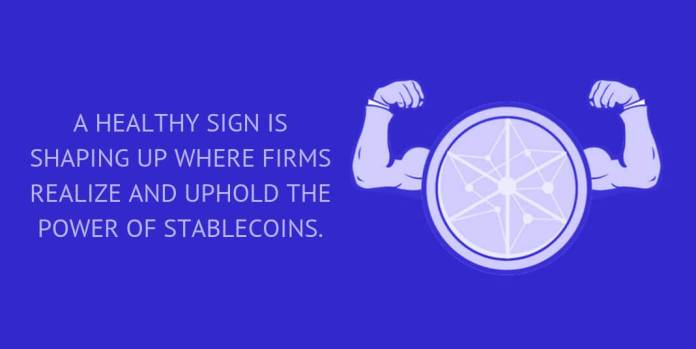 A healthy sign is shaping up where firms realize and uphold the power of stablecoins.