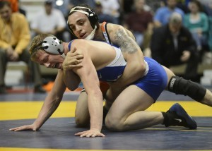 Oklahoma State's Jordan Oliver (right) defeated Air Force's Cole VonOhlen in the 2013 Southern Scuffle championship match.